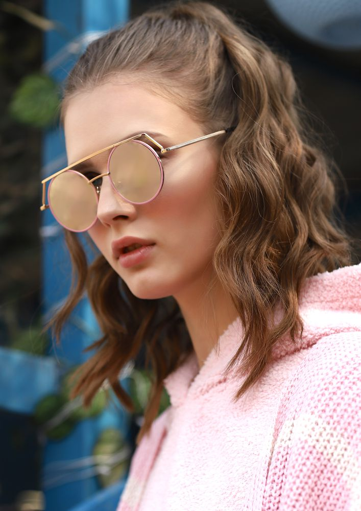 CIRCULAR WORLD PINK ROUND SUNGLASSES