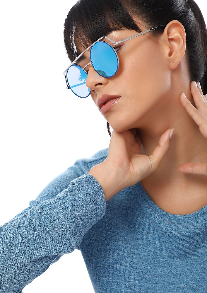 CIRCULAR WORLD BLUE ROUND SUNGLASSES