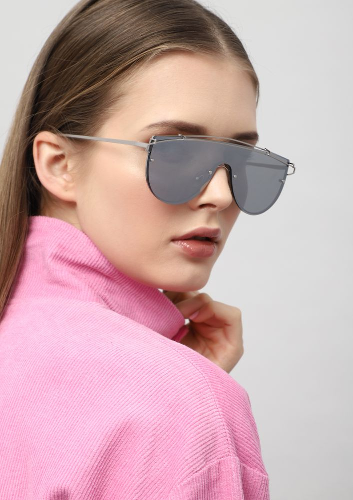 FUTURE IS BRIGHT SILVER SUNGLASSES