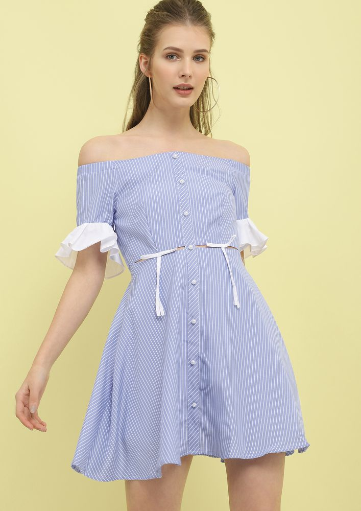 OH MY PRETTY PEARLS LIGHT BLUE STRIPED OFF-SHOULDER DRESS