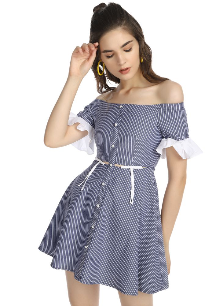 OH MY PRETTY PEARLS NAVY STRIPED OFF-SHOULDER DRESS