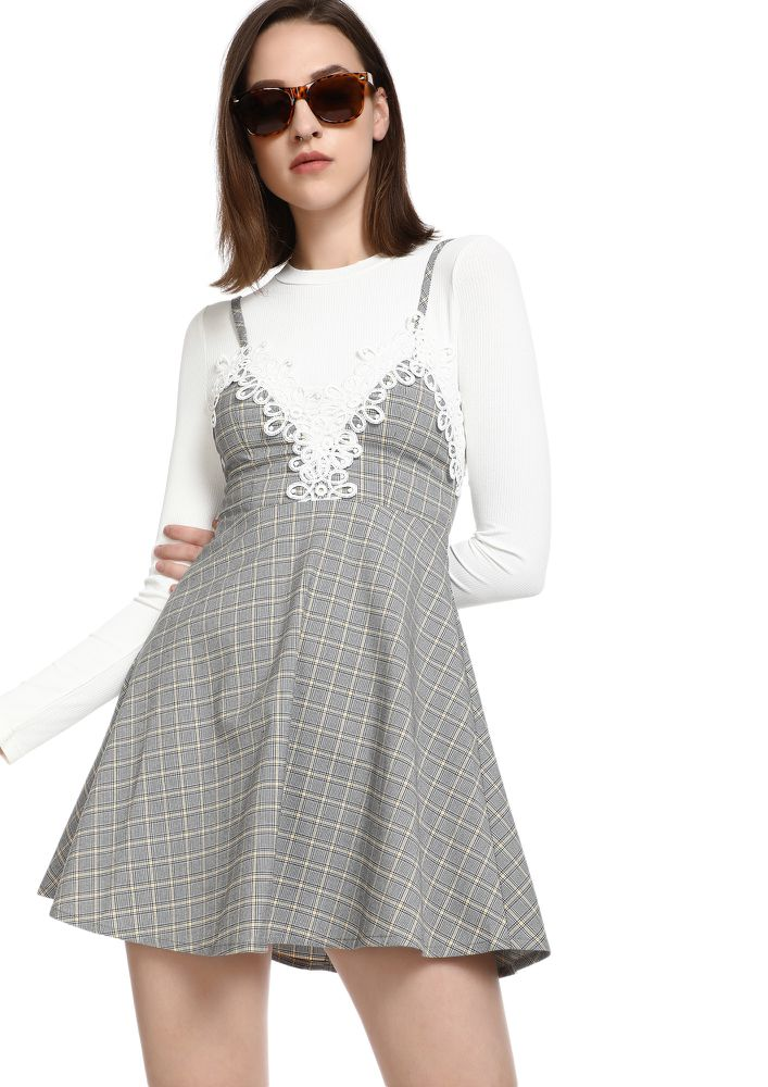 CHECKS ON ME GREY PINAFORE DRESS