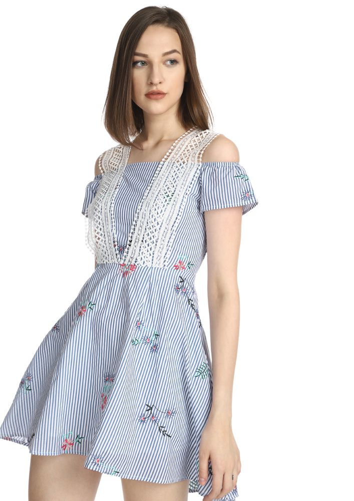 STRIPPED ON FLOWERS BLUE SKATER DRESS
