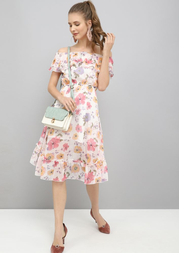 PLAYFUL FLOWERS PINK SKATER DRESS