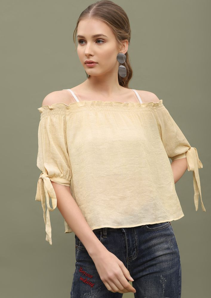 WAITING FOR SUMMER TAN BEIGE COLD-SHOULDER TOP