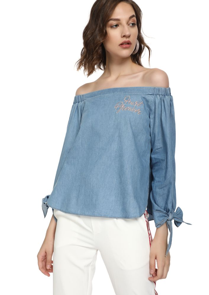 HEART BREAKER BLUE OFF-SHOULDER TOP