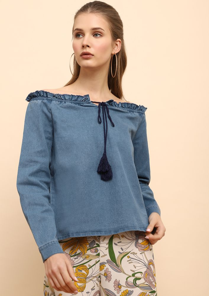 DREAM CATCHER BLUE OFF-SHOULDER TOP
