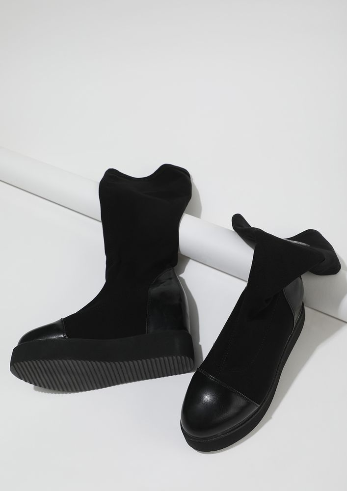 BACK TO MY ROOTS BLACK CALF-LENGTH BOOTS