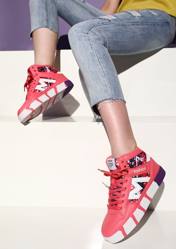 Are We Excited Blush Red High-Top Trainers