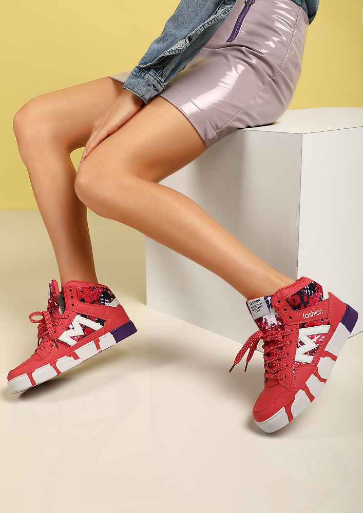 HIGH ON LIFE RED HIGH TOP TRAINERS