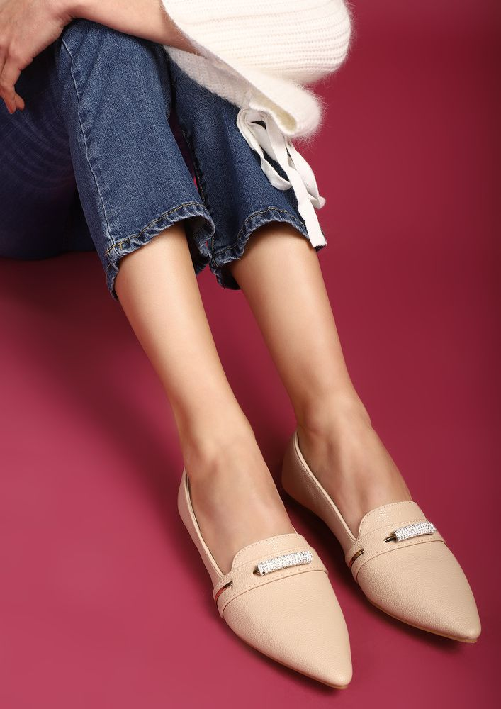 MATTER OF PRIORITIES BEIGE BALLET FLATS