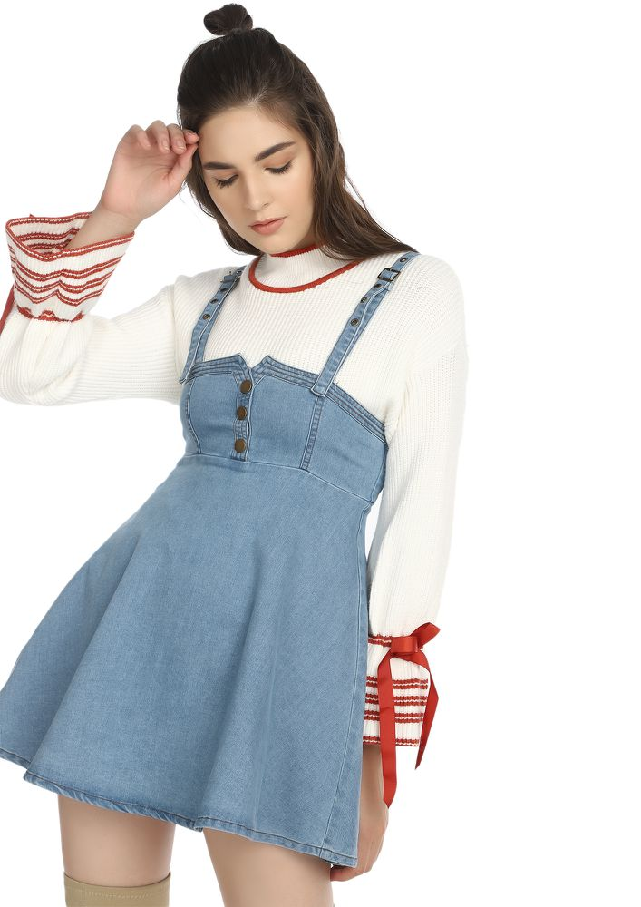 RIGHT NOW RIGHT HERE LIGHT BLUE DENIM DRESS