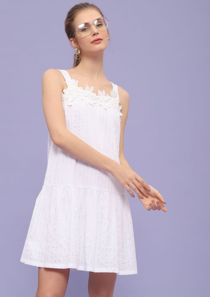 FOR THE WEEKEND TIME WHITE SHIFT DRESS
