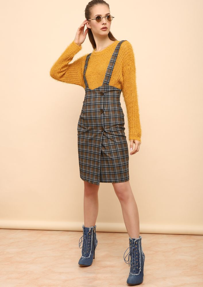 EARN THOSE CHECKS KHAKI PINAFORE SKIRT