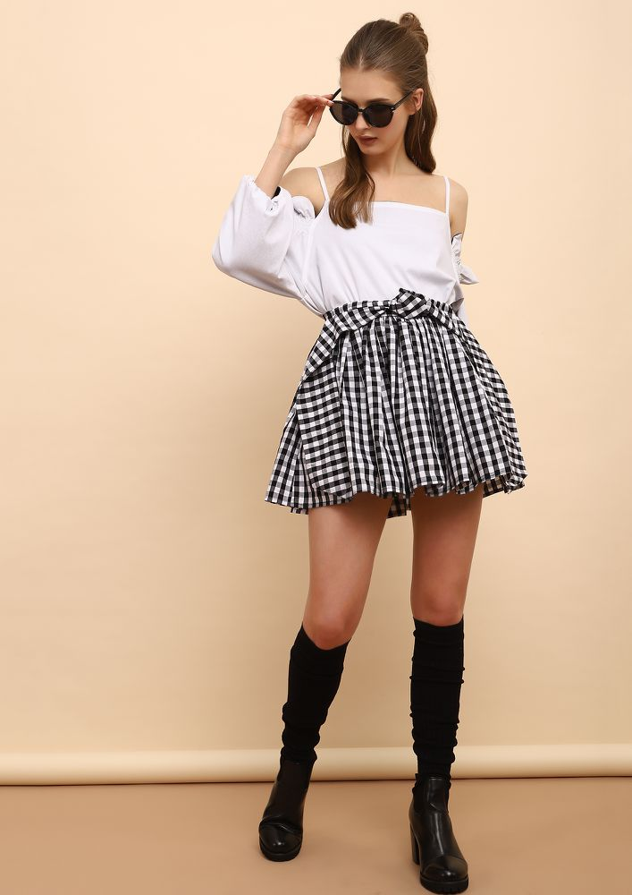 LITTLE MISS FANCY PLEATS BLACK WHITE SKATER SKIRT
