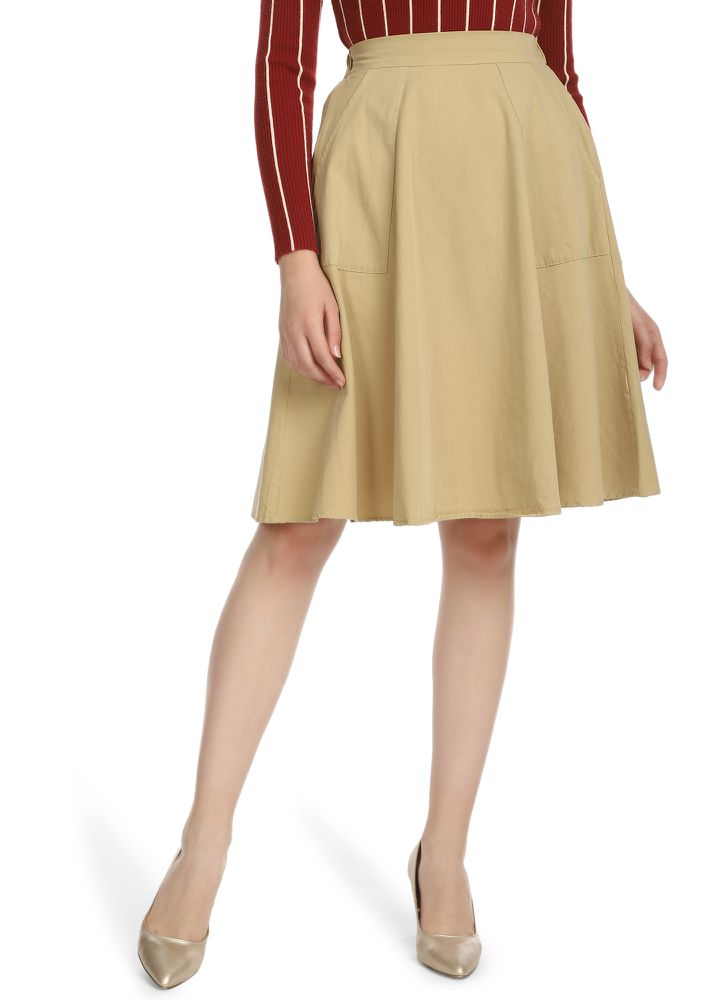 CHANCE UPON THE PLEATS BEIGE MIDI SKIRT