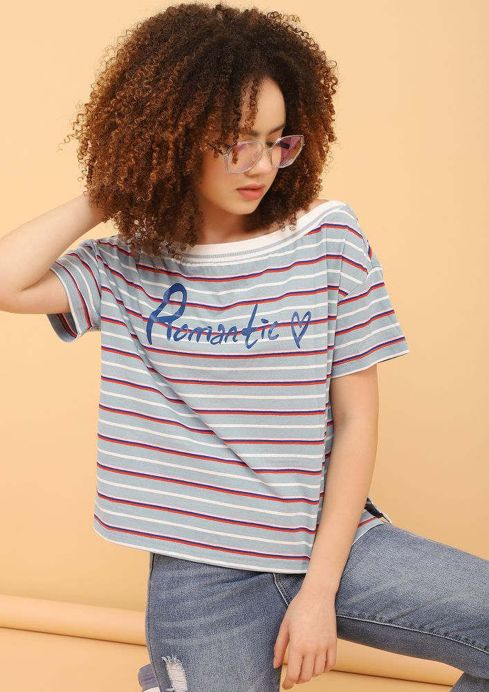 HOPELESS YET ROMANTIC STRIPED BLUE T-SHIRT