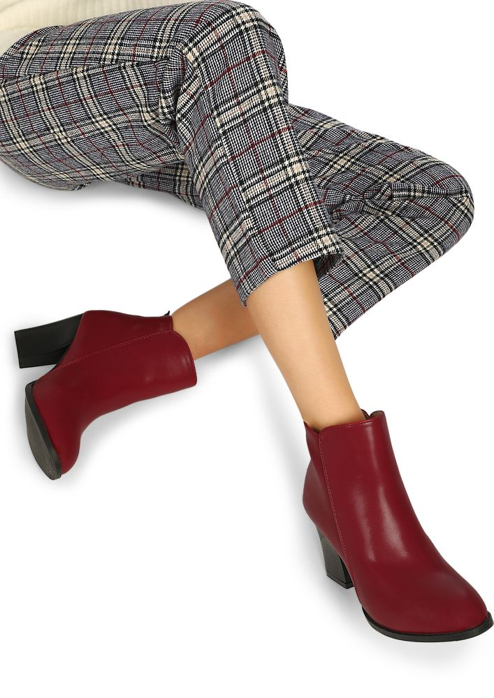 TOUGH ONE TO IMPRESS MAROON ANKLE BOOTS