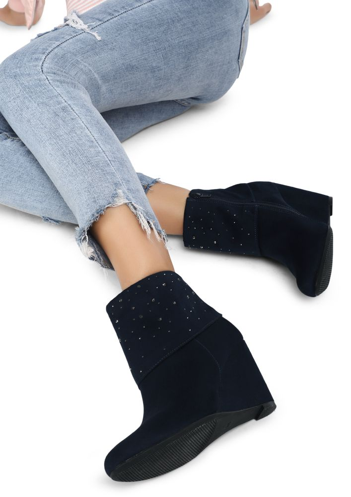 STARS UNDER A DARK SKY BLUE ANKLE BOOTS