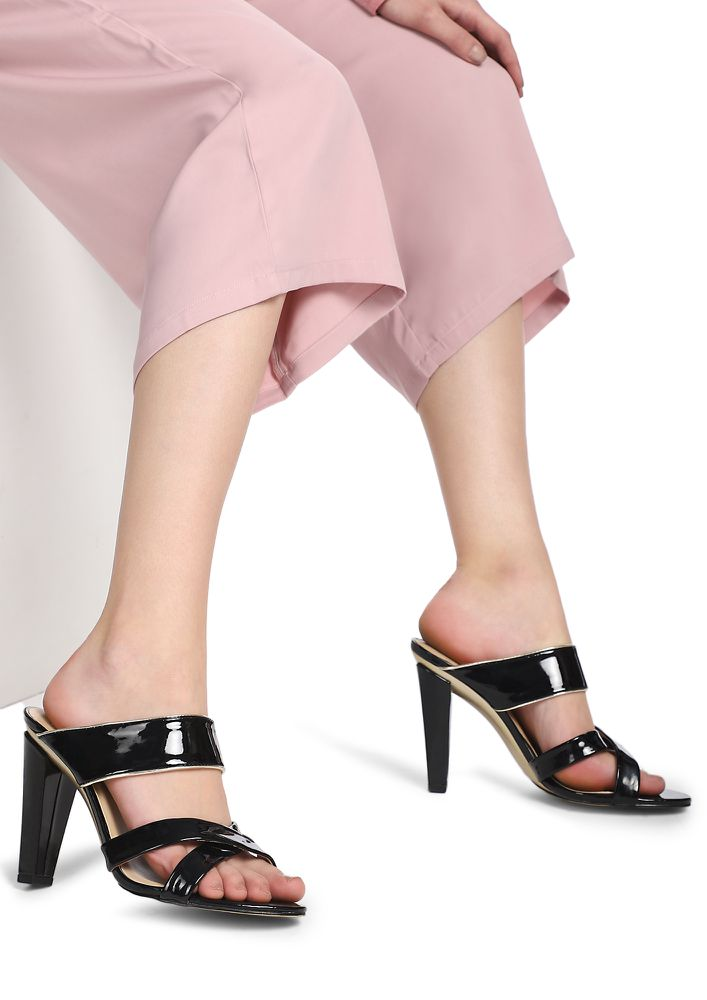 ALL WORK NO PLAY BLACK HEELED SANDALS