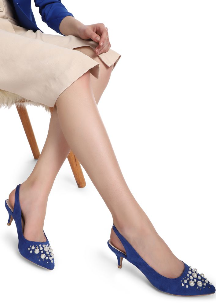 MY KIND OF PEARLS BLUE HEELED SHOES