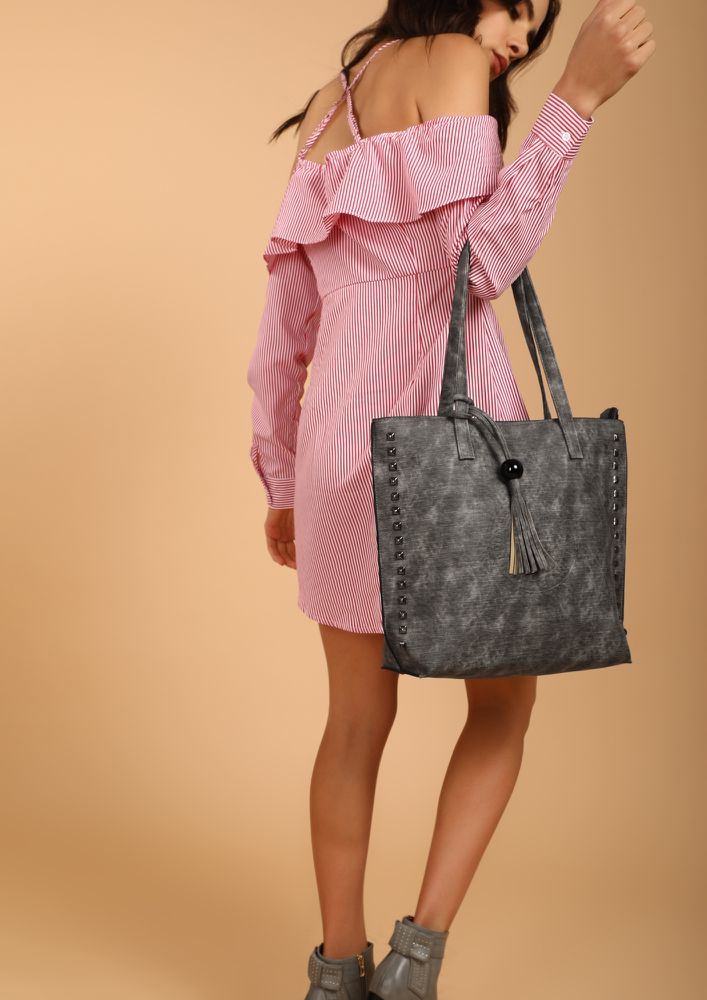 THE FADING EFFECT GREY TOTE BAG