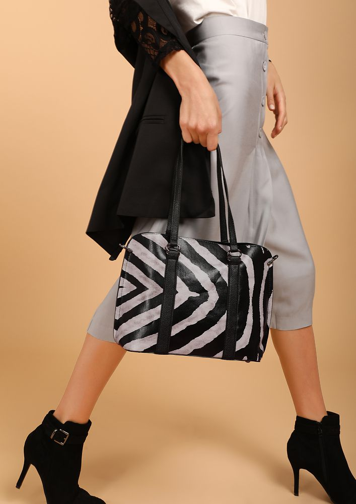 WILD CHILD  BLACK AND WHITE HANDBAG