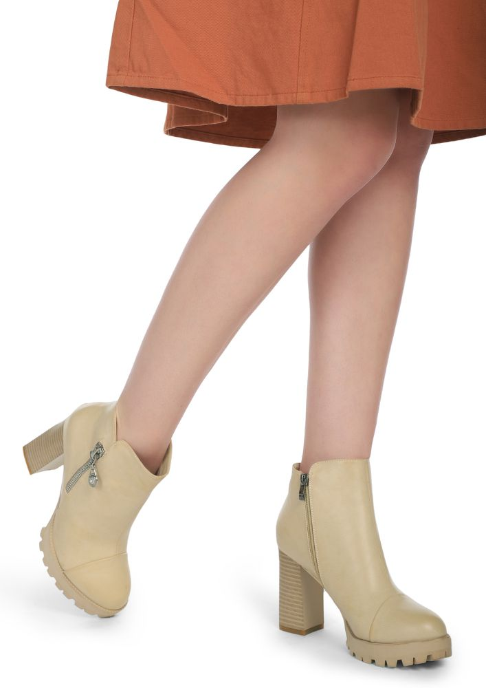 DARING MOVES BEIGE ANKLE BOOTS