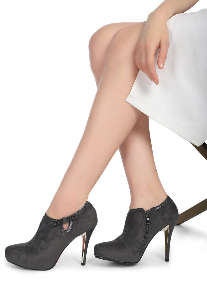 MIDNIGHT LOVER GREY HEELED SHOES