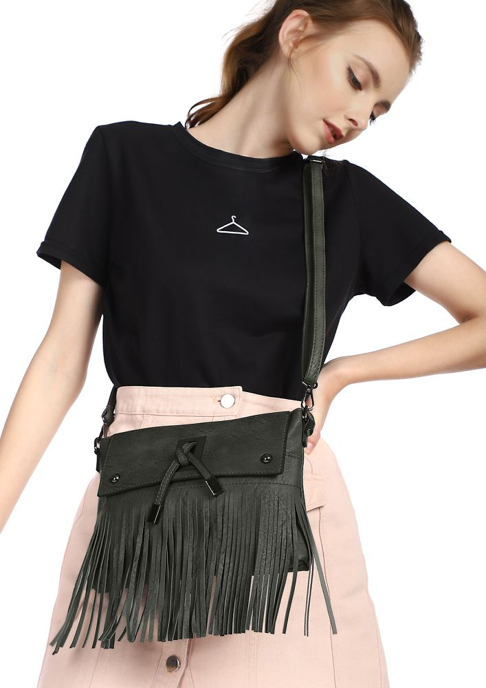 FRINGE DANCE GREY SLING BAG
