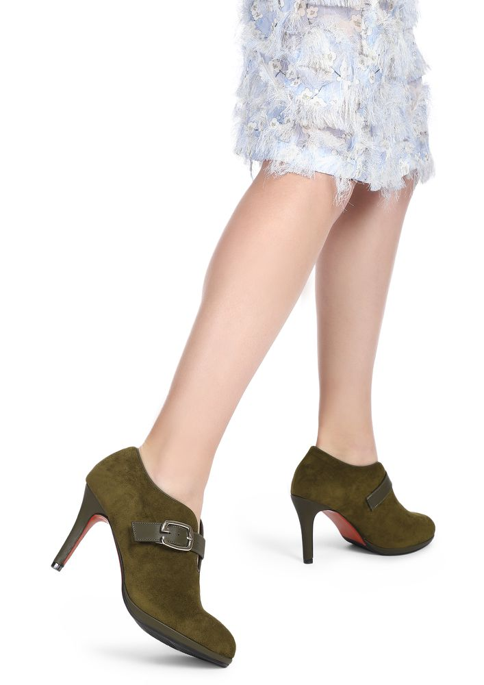 NEVER LATE FOR OFFICE OLIVE GREEN HEELED SHOES