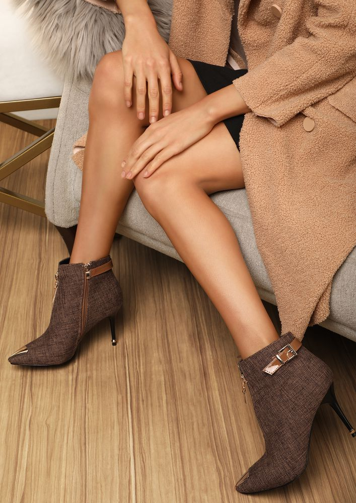 ATTENTION SEEKER BROWN ANKLE BOOTS