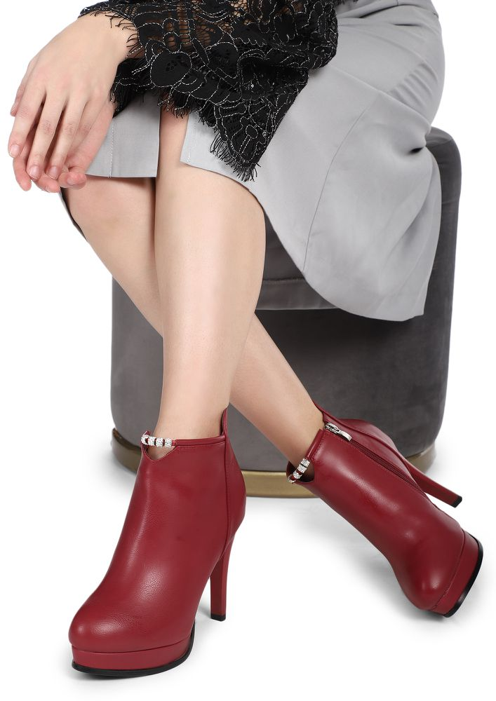 CAN'T DIM MY LUSTRE RED ANKLE BOOTS