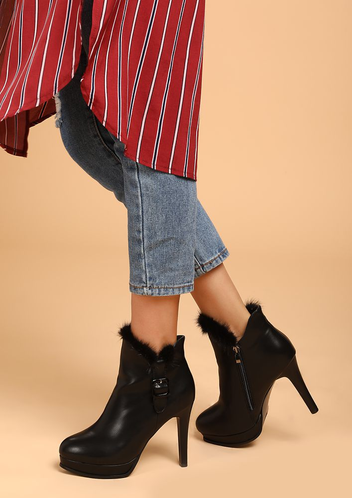 NEVER UNDERESTIMATE ME BLACK ANKLE BOOTS