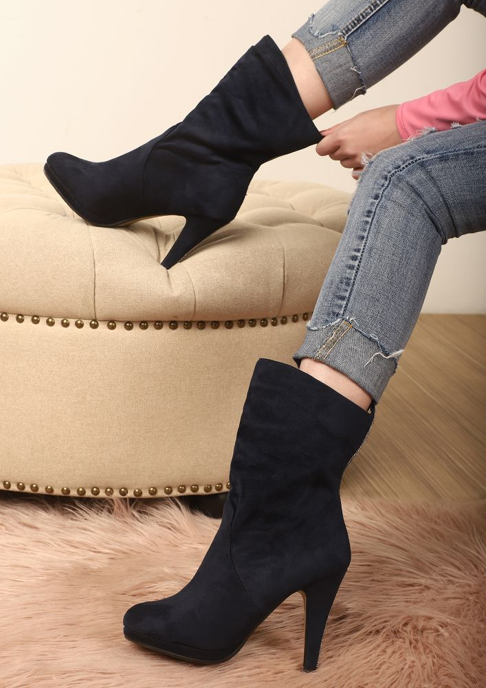 Stony-Hearted Blue Mid-Cuff Boots