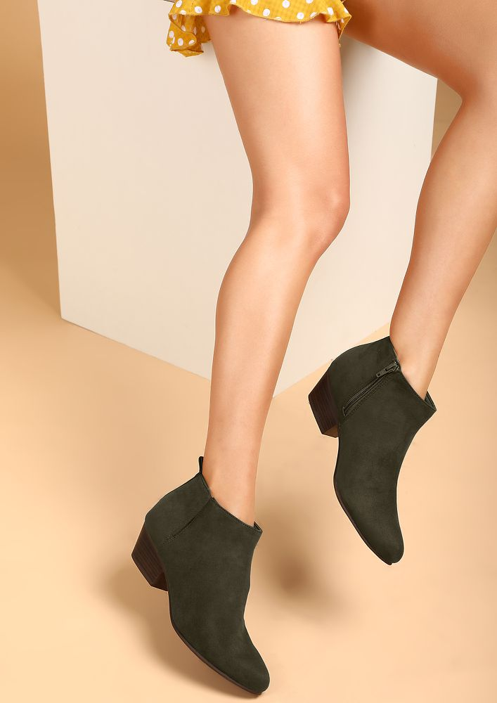 NARROW IT DOWN OLIVE GREEN ANKLE BOOTS