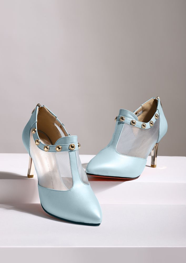 OUT OF TOUCH BLUE ANKLE BOOTS