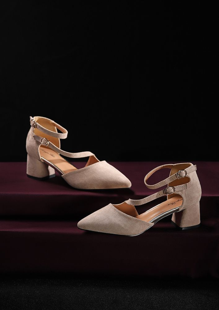 ON THE LOW DOWN BEIGE HEELED SHOES
