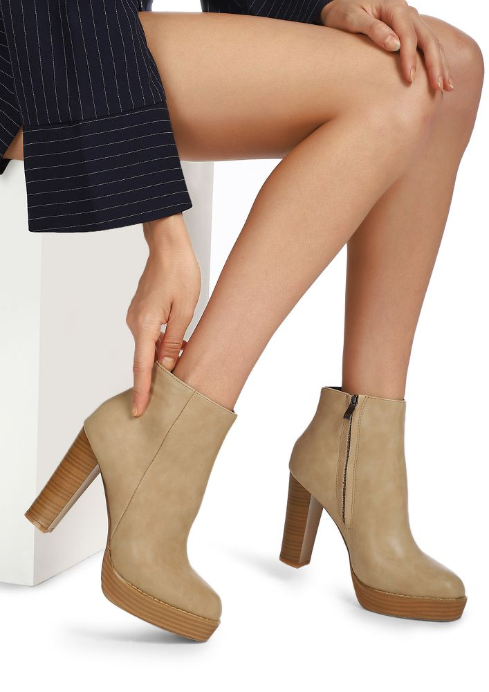 LEAVING FOR OFFICE BEIGE ANKLE BOOTS