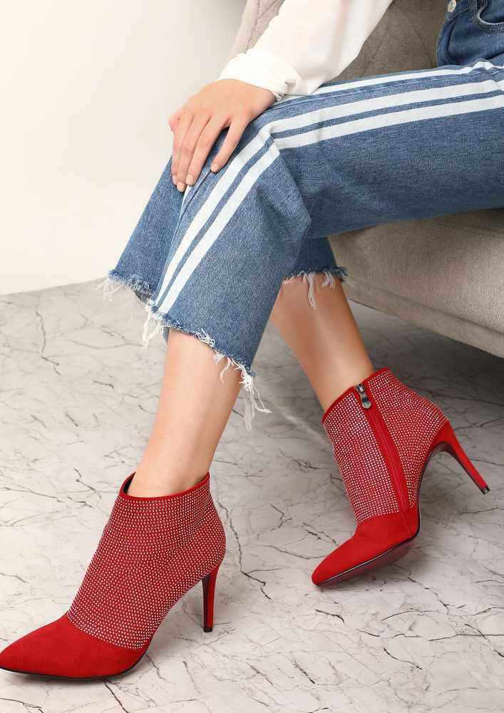 KEEP THE SHINE ON RED ANKLE BOOTS