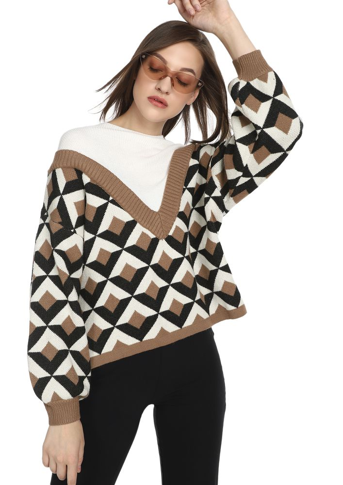 NEVER CARED WON'T CARE WHITE BROWN JUMPER