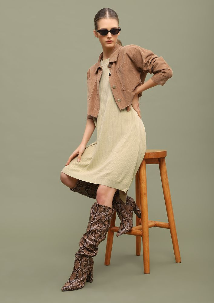COMFORT OVER ANYTHING BEIGE SHIFT DRESS