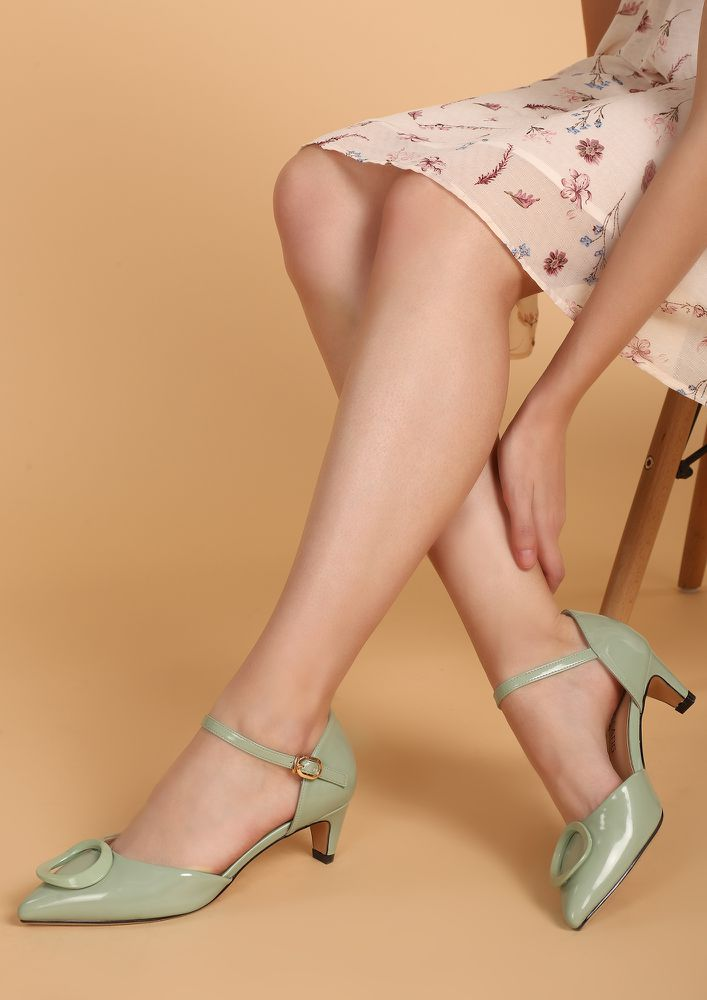 8 'O' CLOCK GREEN HEELED SHOES
