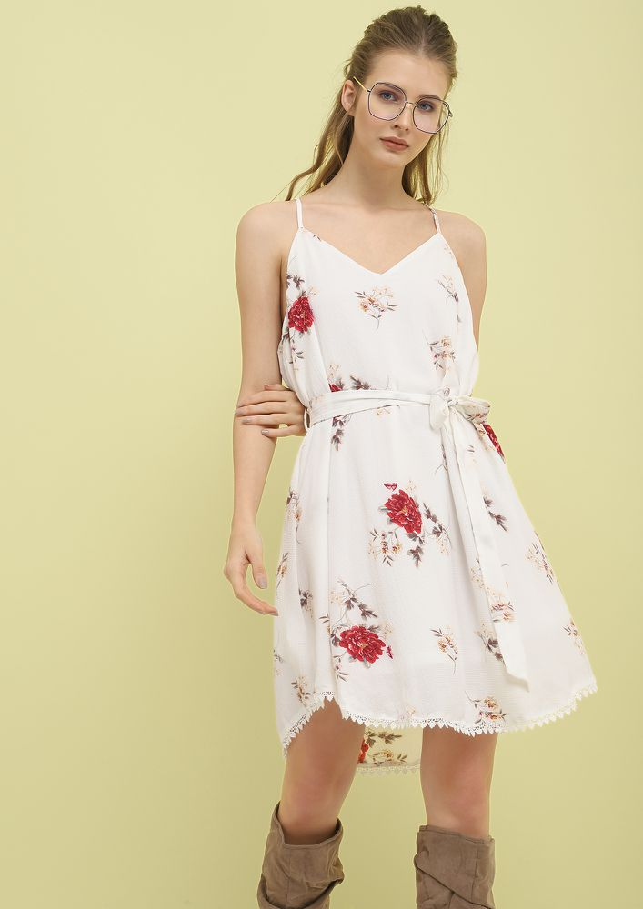 KEEP THE BLOOM ON WHITE SKATER DRESS