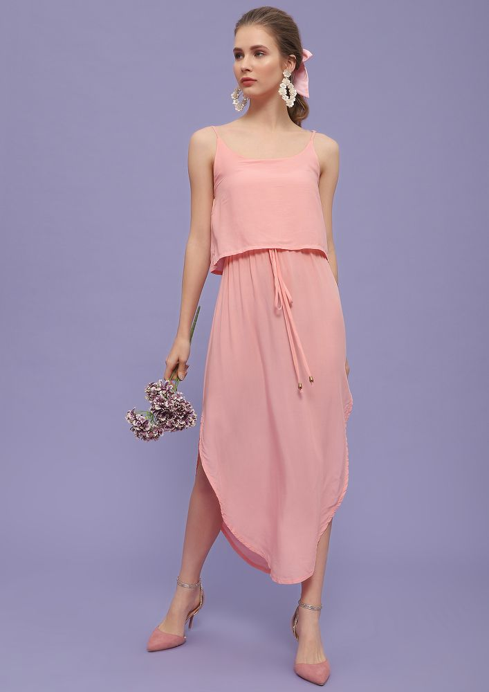 SAVE ME FOR LATER  BABY PINK MIDI DRESS
