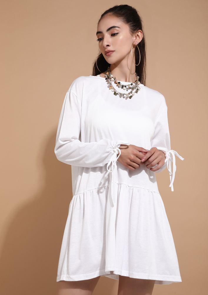 DROPPING ALL MY WORK RN WHITE SHIFT DRESS