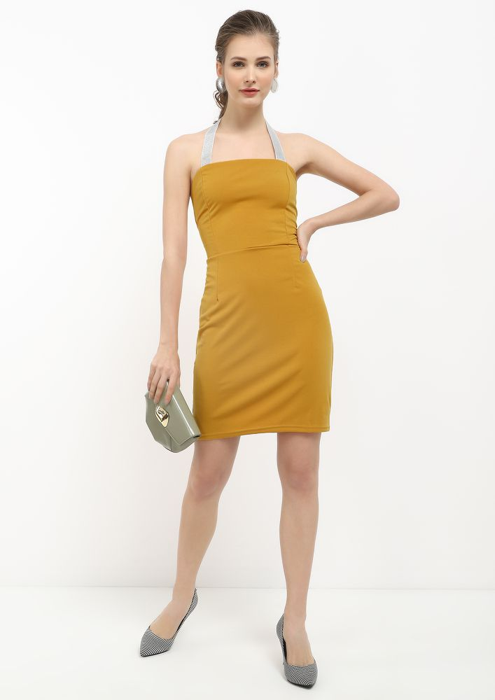HALTING MY PACE MUSTARD YELLOW BODYCON DRESS
