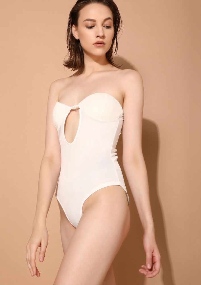 NEVER LATE FOR A PARTY WHITE BODYSUIT