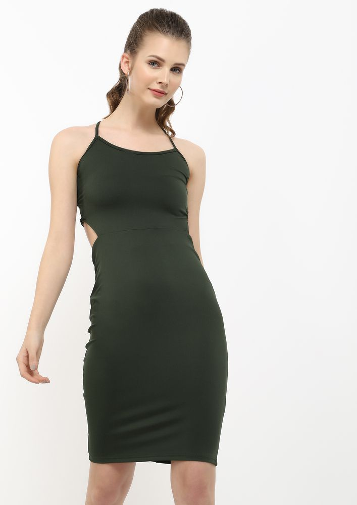 THE STRAPPY AFFAIR GREEN PENCIL DRESS