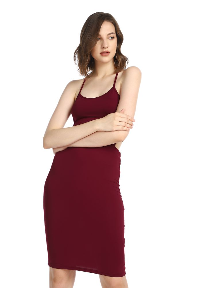 THE STRAPPY AFFAIR RED PENCIL DRESS